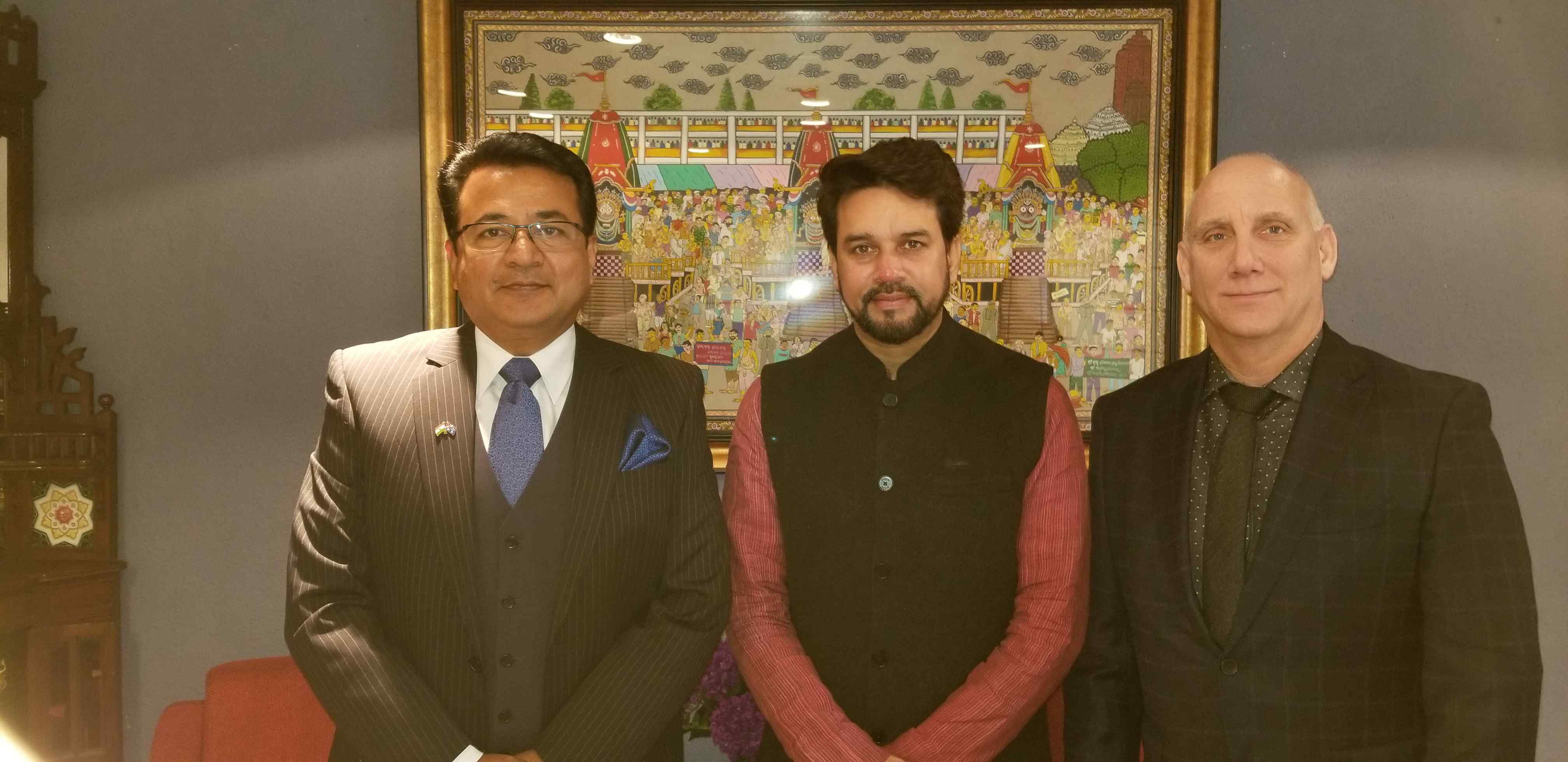 Along with IAIE advisor Dale Sheehan with Hon Minister of State for Finance and  Corporate Affairs Sri Anurag Thakur