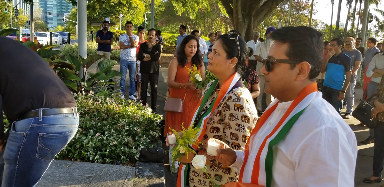 Expressing solidarity with India at the Gandhi memoiral In Brisbane in the wake of Pulwama attack