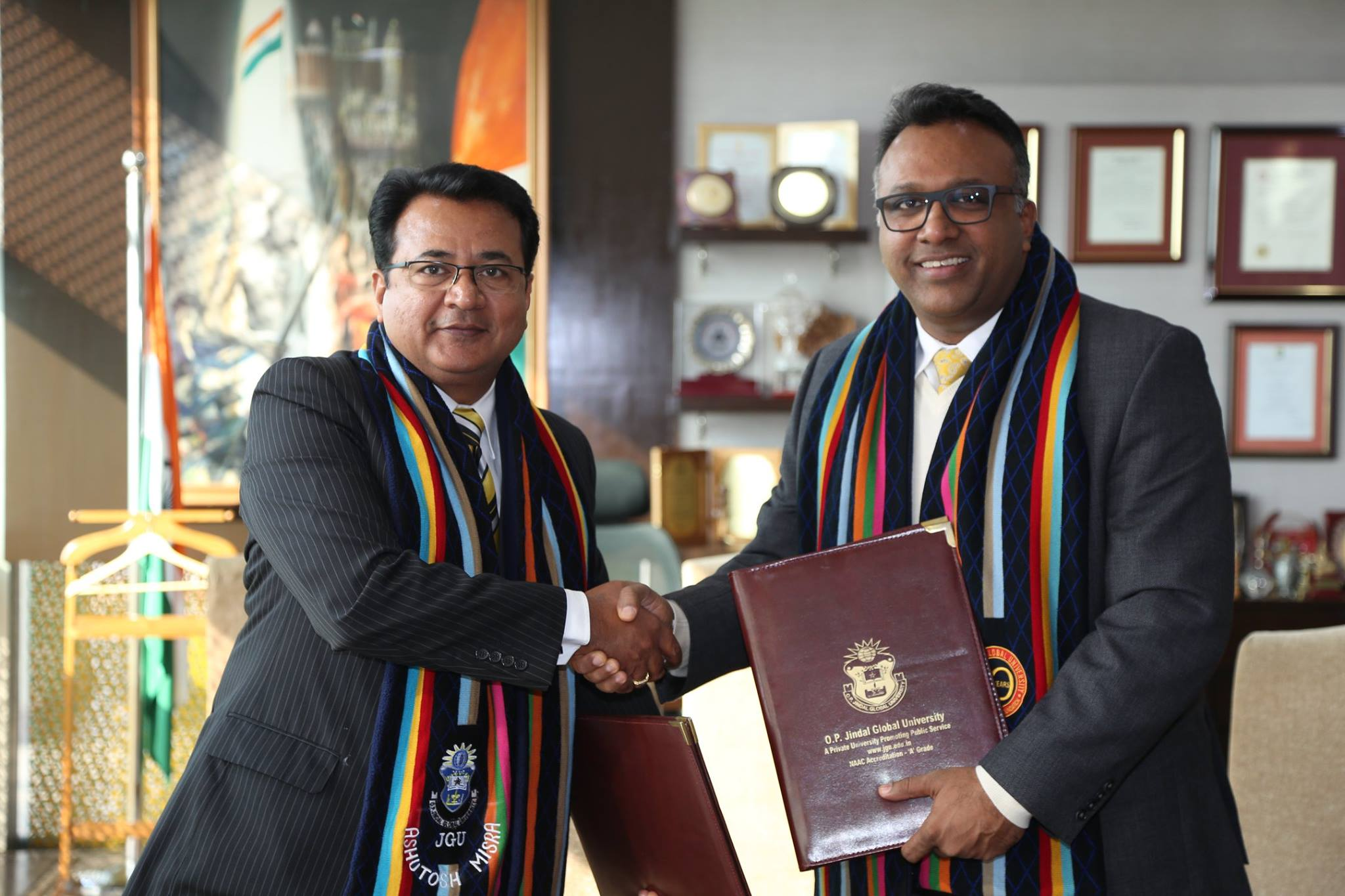 Signing MoU with Jindal Global University Vice Chancellor C. Raj Kumar